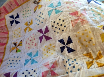"PIP (Project In Progress) ""Pinwheels and Polka-dots"" Baby quilt under construction for a great-granddaughter, likewise under construction"